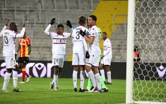 Congartulations victory players Nice during the French championship Ligue 1 football match between RC Lens and OGC Nice on January 23, 2021 at Bollaert-Delelis stadium in Lens, France - Photo Laurent Sanson / LS Medianord / DPPI / LiveMedia