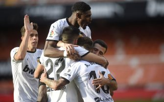 Thierry Correia of Valencia CF celebrates  the 2-0 scored by Alex Blanco during the La Liga match between Valencia CF and Granada CF played at Mestalla Stadium on March 21, 2021 in Valencia, Spain. (Photo by Pressinphoto / Icon Sport)