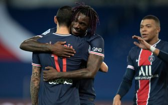 Angel Di Maria of PSG celebrates his goal with Moise Kean and Kylian MBappe of PSG during the Ligue 1 match between Paris Saint Germain and Girondin de Nimes at Parc des Princes on February 03, 2021 in Paris, France. Photo by David Niviere/ABACAPRESS.COM