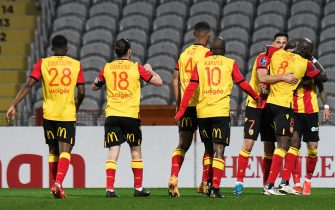 Lens' players celebrate after scoring a goal during the Ligue 1 football match between RC Lens (RCL) and Olympique Lyonnais (OL) at Stade Bollaert Delelis in Lens, on April 4, 2021. Photo by Julie Sebadelha/ABACAPRESS.COM
