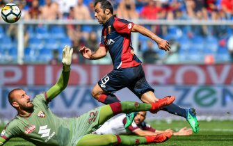 Genoa's Macedonian forward Goran Pandev scores a goal during the Italian Serie A soccer match Genoa Cfc vs Torino Fc at Luigi Ferraris Stadium in Genoa, Italy, 20 May 2018ANSA/SIMONE ARVEDA