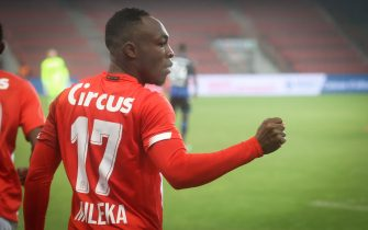 Standard's Jackson Muleka Kyanvubu celebrates after scoring during a soccer game between Standard de Liege and Club Brugge, Thursday 04 March 2021 in Liege, in the 1/4 finals of the 'Croky Cup' Belgian cup. BELGA PHOTO VIRGINIE LEFOUR (Photo by VIRGINIE LEFOUR/Belga/Sipa USA)