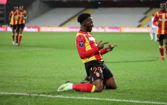 Celebration Kalimuendo 29 RC Lens after goal during the French championship Ligue 1 football match between RC Lens and Stade brestois 29 on December 23, 2020 at Bollaert-Delelis stadium in Lens, France - Photo Laurent Sanson / LS Medianord / DPPI / LM