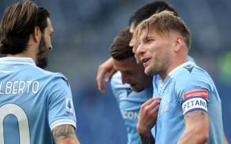 ROME, Italy - 18.04.2021:  Ciro Immobile (LAZIO) score the goal and celebrate during the Italian Serie A league 2021 soccer match  between SS LAZIO VS BENEVENTO  at Olympic stadium in Rome.