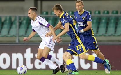 Verona-Fiorentina 0-0 LIVE: Ribery al tiro