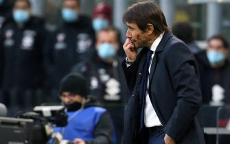 Inter Milan s coach Antonio Conte reacts during the Italian serie A soccer match  Fc Inter and Torino Fc at Giuseppe Meazza stadium in Milan 22 November  2020. ANSA / MATTEO BAZZI