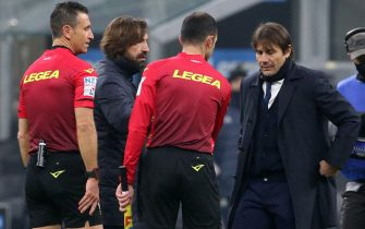 Juventus  head coach Andrea Pirlo (L) and Inter Milan s coach Antonio Conte attend  during the Italian serie A soccer match  between FC Inter and Juventus FC at Giuseppe Meazza stadium in Milan 17 January  2021. ANSA / MATTEO BAZZI