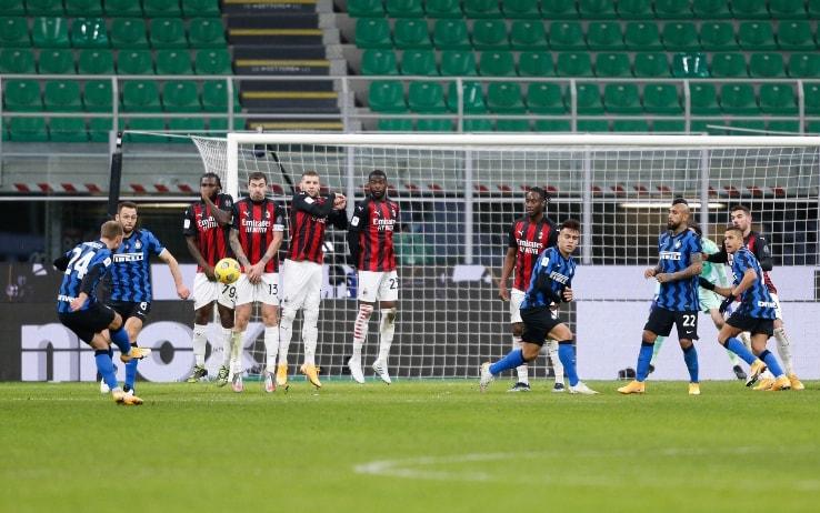 La punizione vincente di Eriksen al Milan