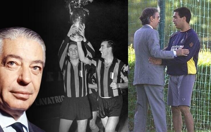 A sinistra Angelo Moratti e Corso che alza la Coppa Campioni; a destra Massimo Moratti e Recoba alla Pinetina