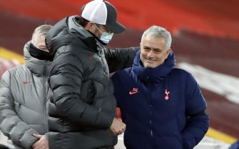 Liverpool manager Jurgen Klopp with Tottenham Hotspur manager Jose Mourinho (right) during the Premier League match at Anfield, Liverpool.