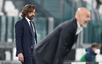 Juventus coach Andrea Pirlo gestures during the italian Serie A soccer match Juventus FC vs AC Milan at the Allianz Stadium in Turin, Italy, 9 May 2021 ANSA/ALESSANDRO DI MARCO