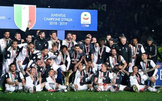 Players of Juventus celebrate the victory of the Scudetto the end of the italian Serie A soccer match Juventus FC vs Atalanta BC at the Allianz Stadium in Turin, Italy, 19 May 2019 ANSA/ALESSANDRO DI MARCO