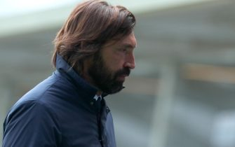 Juventus' coach Andrea Pirlo leaves the pitch at the end of the Italian Serie A soccer match Atalanta BC vs Juventus at the Gewiss Stadium in Bergamo, Italy, 18 April 2021.ANSA/PAOLO MAGNI