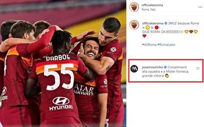 Mourinho applaude la Roma e Fonseca dopo il derby