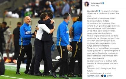 """Zanetti a Conte: """"Grazie di cuore, mi mancherai"""""""