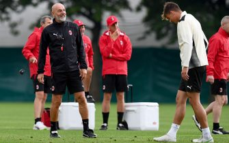 CAIRATE, ITALY - JULY 27: Coach Stefano Pioli attends an AC Milan Training Session at Milanello on July 27, 2021 in Cairate, Italy. (Photo by Claudio  Villa/AC Milan via Getty Images)