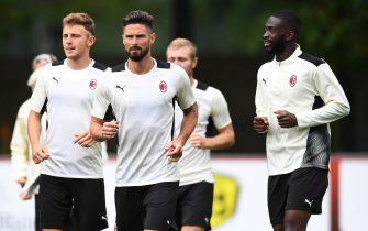 CAIRATE, ITALY - JULY 27: Olivier Giroud looks on during an AC Milan Training Session at Milanello on July 27, 2021 in Cairate, Italy. (Photo by Claudio  Villa/AC Milan via Getty Images)