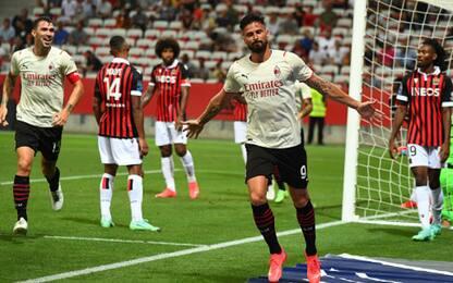 Giroud subito in gol: buon 1-1 del Milan col Nizza
