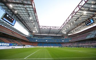 A general view of the stadium at kick off during the Serie A match at Giuseppe Meazza, Milan. Picture date: 17th October 2020. Picture credit should read: Jonathan Moscrop/Sportimage via PA Images