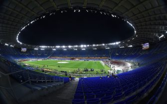 Night view of the Olympic Stadium during return of the quarter-finals of the Europa League soccer match AS Roma vs Ajax in the Olympic stadium in Rome, Italy, 15 April 2021. Fotografo01