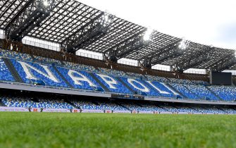 NAPLES, ITALY - JANUARY 17: General view inside the stadium prior to the Serie A match between SSC Napoli and ACF Fiorentina at Stadio Diego Armando Maradona on January 17, 2021 in Naples, Italy. Sporting stadiums around Italy remain under strict restrictions due to the Coronavirus Pandemic as Government social distancing laws prohibit fans inside venues resulting in games being played behind closed doors. (Photo by Francesco Pecoraro/Getty Images)