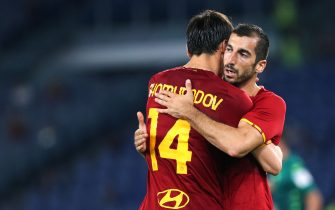 Henrikh Mkhitaryan of Roma (R) celebrates with Eldor Shomurodov (L) after scoring 3-0 goal during the Pre-Season Friendly football match between AS Roma and Raja Casablanca on August 14, 2021 at Stadio Olimpico in Rome, Italy - Photo Federico Proietti / DPPI