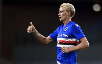GENOA, ITALY - August 16, 2021: Morten Thorsby of UC Sampdoria celebrates after scoring a goal during the Coppa Italia football match between UC Sampdoria and US Alessandria. (Photo by Nicolò Campo/Sipa USA)