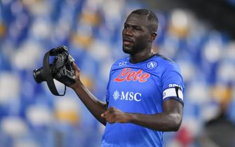 Kalidou Koulibaly of SSC Napoli celebrates with a camera after scoring second goal during the Serie A match between SSC Napoli and FC Juventus at Stadio Diego Armando Maradona, Napoli, Italy on 11 September 2021.  (Photo by Giuseppe Maffia/NurPhoto via Getty Images)