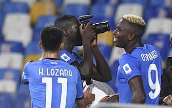 Kalidou Koulibaly of Napoli celebrates after scoring the 2-1 goal during the Italian Serie A soccer match Ssc Napoli vs Juventus FC  at  Diego Armando Maradona Stadium in Naples,  Italy,  11 September 2021. ANSA / CIRO FUSCO