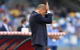 Juventus' head coach Massimiliano Allegri reacts   during  SSC Napoli vs Juventus FC, Italian football Serie A match in Naples, Italy, September 11 2021