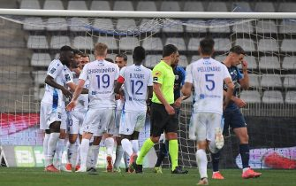 Auxerre players celebrate after a goal during the league 2 match between Paris FC and Auxerre at Charlety's stadium monday august 16, 2021. Paris. France. PHOTO: CHRISTOPHE SAIDI / SIPA.//04SAIDICHRISTOPHE_10420124/2108181115/Credit:CHRISTOPHE SAIDI/SIPA/2108181118