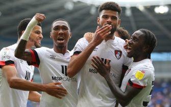 Philip Billing of Bournemouth celebrates after scoring during the Sky Bet Championship match at the Cardiff City Stadium, CardiffPicture by Geraint Nicholas/Focus Images/Sipa USA 18/09/2021