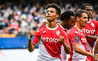 Sofiane DIOP of Monaco celebrates his goal during the French championship Ligue 1 football match between ESTAC Troyes and AS Monaco on August 29, 2021 at Stade de L'Aube in Troyes, France - Photo Matthieu Mirville / DPPI