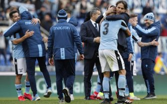 Lazio's Ramos Marchi (L) and Lazio's head coach Simone Inzaghi  celebrates after winning at the end of the Italian Serie A soccer match between SS Lazio vs Bologna FC at the Olimpico stadium in Rome, Italy, 29 February 2020. ANSA/GIUSEPPE LAMI