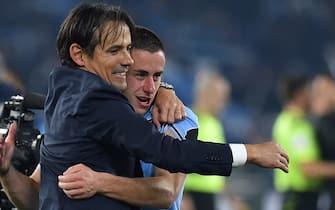Football Serie A Lazio v Inter, Rome (Italy) February 16th 2020Lazio trainer Simone Inzaghi and Adam Marusic