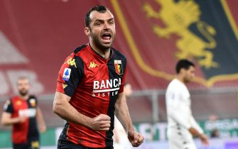 Genoa's Goran Pandev jubilates after scoring during the Italian Serie A  match Genoa CFC vs Benevento Calcio at Luigi Ferraris stadium in Genoa, Italy, 21 April 2021.
