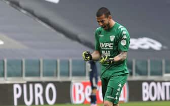 Lorenzo Montipo' (goalkeeper Benevento) celebrates for the goal