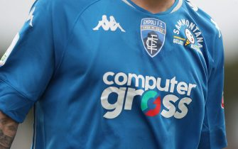 EMPOLI, ITALY - APRIL 27: T-shirt details of Empoli FC during the Serie B match between Empoli FC and Chievo Verona at Stadio Carlo Castellani on April 27, 2021 in Empoli, Italy.  (Photo by Gabriele Maltinti/Getty Images)