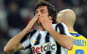 L'esultanza di Paolo De Ceglie dopo il gol dell' 1-0 durante la partita di Serie A Juventus-Chievo allo Juventus Stadium di Torino, 3 marzo 2012.   ANSA/ ALESSANDRO DI MARCO