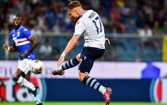 Lazio's Ciro Immobile scores his second goal (0-3) during the Italian Serie A soccer match UC Sampdoria vs SS Lazio at Luigi Ferraris Stadium in Genoa, Italy, 25 August 2019ANSA/SIMONE ARVEDA