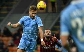MILAN, ITALY - NOVEMBER 03:  Ciro Immobile of SS Lazio scores a opening goal during the Serie A match between AC Milan and SS Lazio at Stadio Giuseppe Meazza on November 3, 2019 in Milan, Italy.  (Photo by Marco Rosi/Getty Images)
