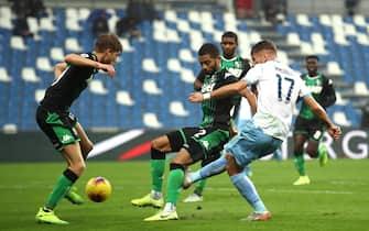 Lazio's  Ciro Immobile  scores the goal (0-1) during the Italian Serie A soccer match US Sassuolo vs SS Lazio at Mapei Stadium in Reggio Emilia, Italy, 24 November 2019. ANSA / SERENA CAMPANINI