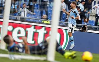 Lazio's Ciro Immobile jubilates after scoring the 3-0 goal during the Italian Serie A soccer match SS Lazio vs SPAL Ferrara at Olimpico stadium in Rome, Italy, 02 February 2020. ANSA/ANGELO CARCONI