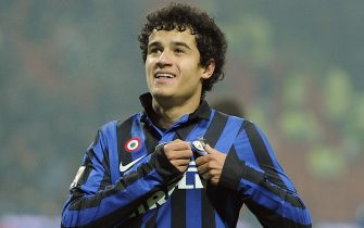 Inter Milan Brazilian midfielder Coutinho reacts after scoring during a Serie A match between Inter Milan and Cagliari at the Giuseppe Meazza stadium, Milan, Italy, 19 November 2011. ANSA/DANIEL DAL ZENNARO