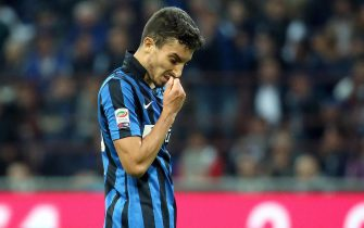 Fc Inter defender Alex Telles reacts during the Italian Serie A soccer match between FC Inter and Ac Fiorentina at Giuseppe Meazza stadium in Milan, 27 september  2015. ANSA / MATTEO BAZZI