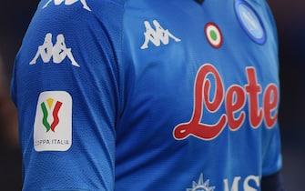 Players shirt with Patch Coppa Italia during the Coppa Italia match between SSC Napoli and Empoli FC at Stadio Diego Armando Maradona Naples Italy on 13 January 2021. (Photo by Franco Romano/NurPhoto via Getty Images)