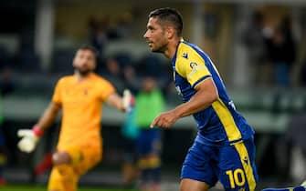 Giancluca Caprari (Verona) celebrates after scoring a goal 2-1  during  Hellas Verona FC vs AS Roma, Italian football Serie A match in Verona, Italy, September 19 2021