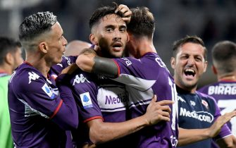 Fiorentina's forward Nicolas Gonzalez (C) celebrates with his teammates after scoring during the Italian Serie A soccer match between ACF Fiorentina and Torino Fc at the Artemio Franchi stadium in Florence, Italy, 28 August 2021. ANSA/CLAUDIO GIOVANNINI