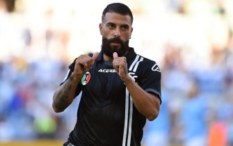 Daniele Verde of Spezia  celebrate after score the goal during the Serie A match between SS Lazio v Spezia at Olimpico  stadium in Rome, Italy, August 28,  2021. Fotografo01