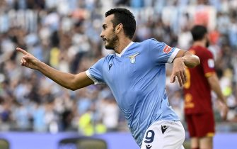 Lazio's Pedro celebrates his goal during the Serie A soccer match between SS Lazio and AS and Roma at the Olimpico stadium in Rome, Italy, 26 September 2021. ANSA/RICCARDO ANTIMIANI